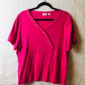 Cato Woman Pink beaded top size 20/22 B20